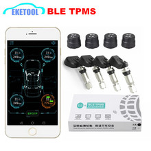 BLE TPMS Wireless 4 Sensors Car Tire Tyre Pressure Monitoring System TPMS Alarm Warning By Bluetooth 4.0 For APP IOS/Android