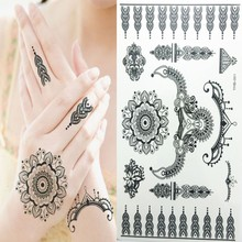 Beauty Body Art Temporary Tattoos Black Flash Tattoo Arm Sticker Indian Henna Waterproof Funny Things Bracelets For Women