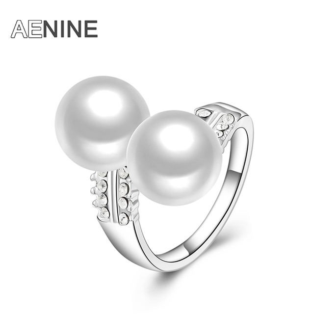 AENINE Fashion Rings Double Simulated Pearl with Pave Setting Austrian Crystal E