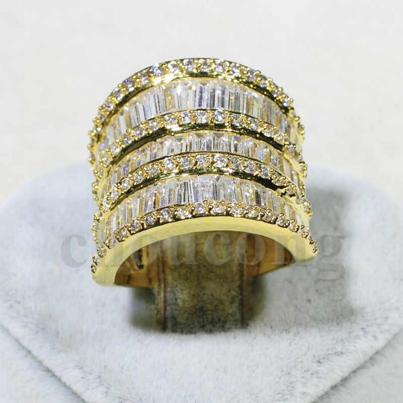 Victoria Wieck แฟชั่นเครื่องประดับ T - shape AAAAA zircon cz งานแต่งงานแหวนผู้หญิงสีเหลืองทองหมั้นแหวน