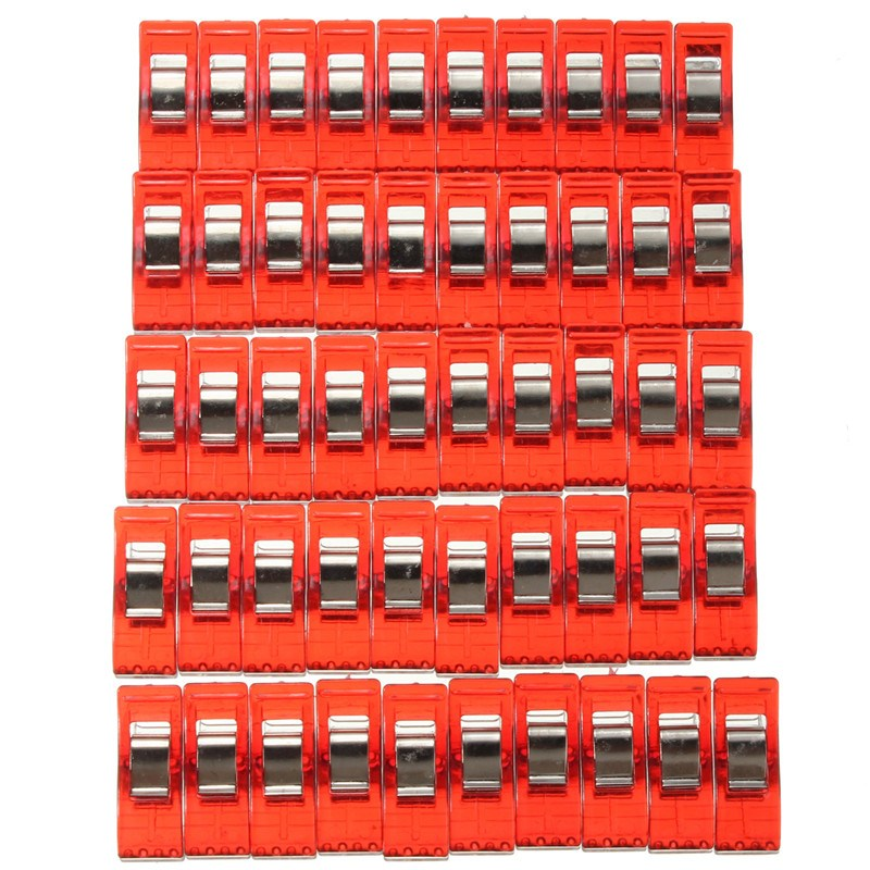 Kicute 50pcs Red Plastic Quilter Holding  Clamps Quilting Clips For Patchwork Sewing Craft Quilt Binding Clips