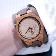 Leather Band Wooden Men Wristwatches