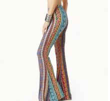 2019 New Hot Sale Boho Vintage Pants Bell Bottom Wide Leg Trousers  Stretch Flare Rose Printed