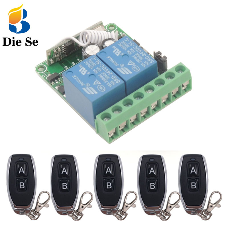 433 MHz Remote Control Switch DC 12V 10A 2 Gang rf Relay Receiver and Transmitter for Current Positive and Negative control in Switches from Lights Lighting