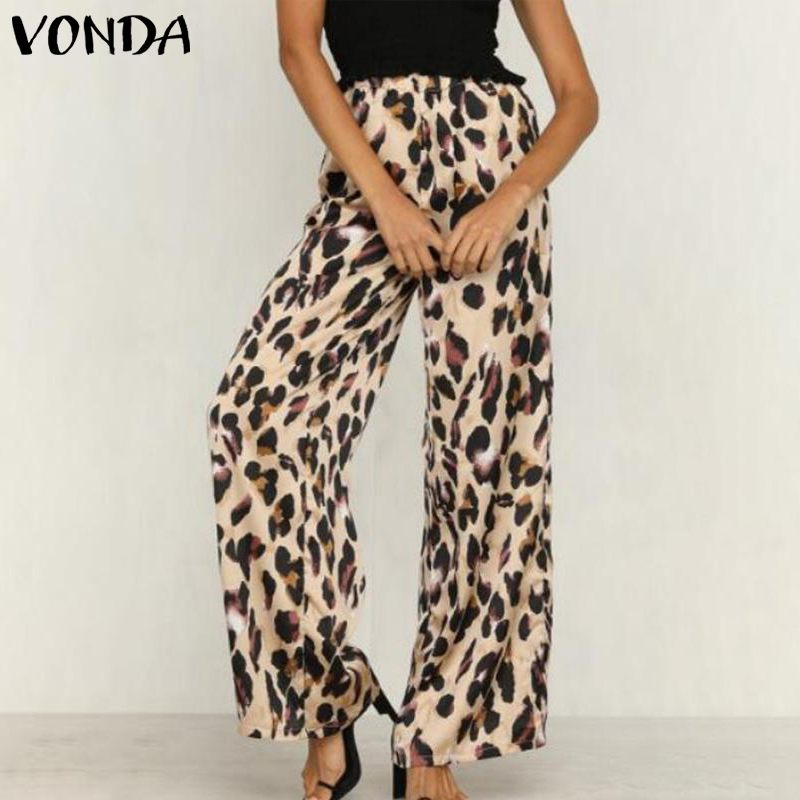 VONDA Women Leopard   Pants   2019 Sexy Long Print   Wide     Leg     Pants   Casual Loose Trousers Autumn Summer Elastic Waist Bottom Plus Size