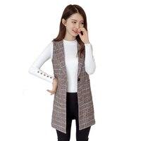 Plaid Vest Jacket Women 2018 New Spring Autumn Fashion Sleeveless Blazers Casual Tops Plus size Slim Waistcoat Female N273