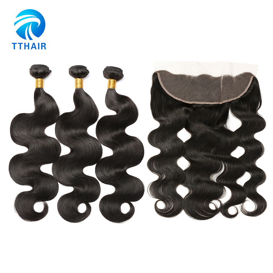 TTHAIR Peruvian Body Wave Human Hair Weave Remy Hair Extensions 100 Human Hair With Lace Frontal Closure