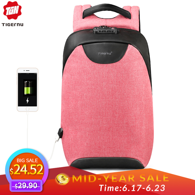 Tigernu Women Anti Theft TSA Lock female Laptop Backpack USB Charge School Bag for Teenager girls Feminine Backpacks Bagpack