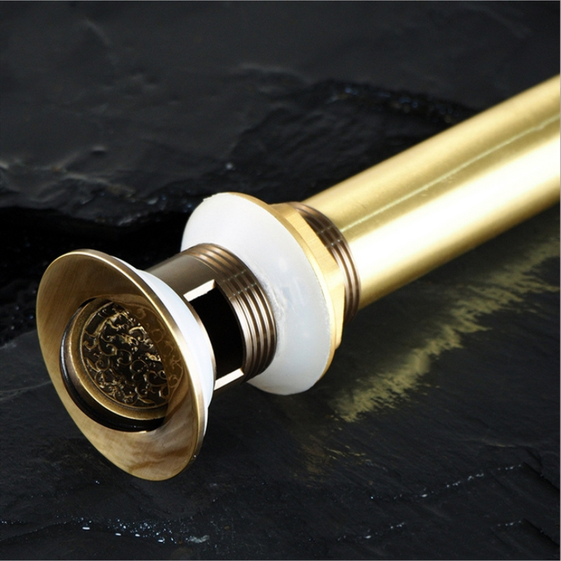 Drains Good Quality Solid Brass Bathroom Lavatory Sink File Cover Drain With Antique Finish Bathroom Parts Faucet Accessories
