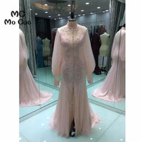 Arabic 2017 Prom dresses Long with Long Sleeve Applique Lace vestidos de fiesta See Though Back Formal Evening Prom Dress