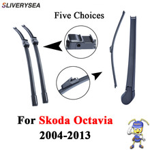 SLIVERYSEA Front And Rear Wiper Arm Blades For Skoda Octavia 2004-2013 Silicone Rubber Windshield Windscreen Auto Car Wiper oge front and rear wiper blades for skoda octavia 2013 2014 2015 2016 high quality rubber windshield car accessories