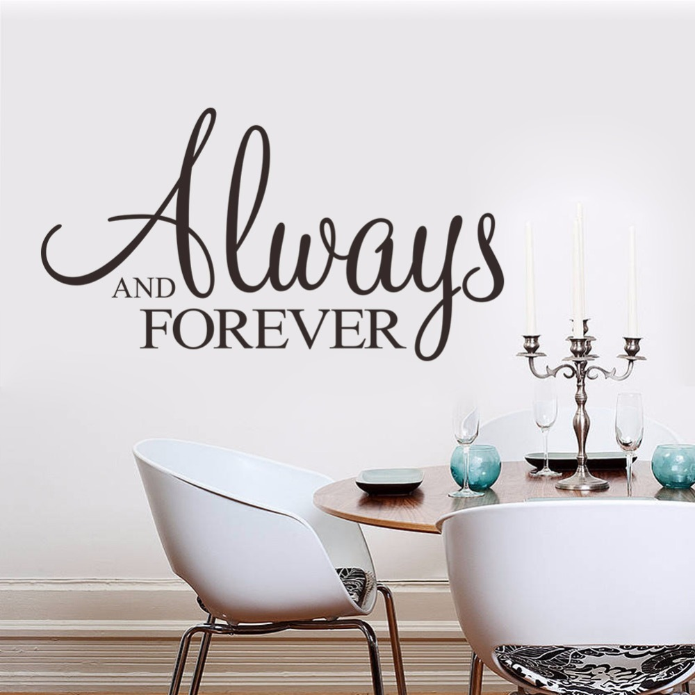 Romantic English Lettering Always & Forever Wall Quote Decals ...