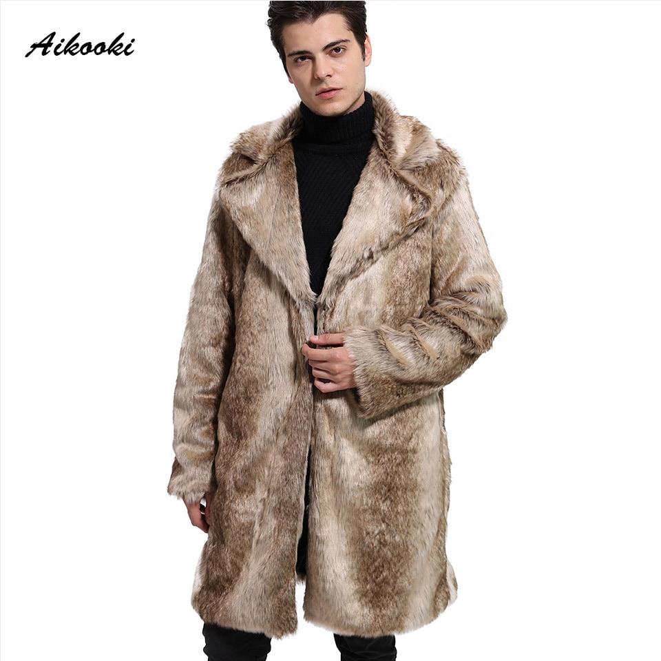 Nouveau hommes mode hiver fausse fourrure manteau nord hiver fausse fourrure Outwear coupe-vent côté manteau hommes vestes en cuir marque pardessus