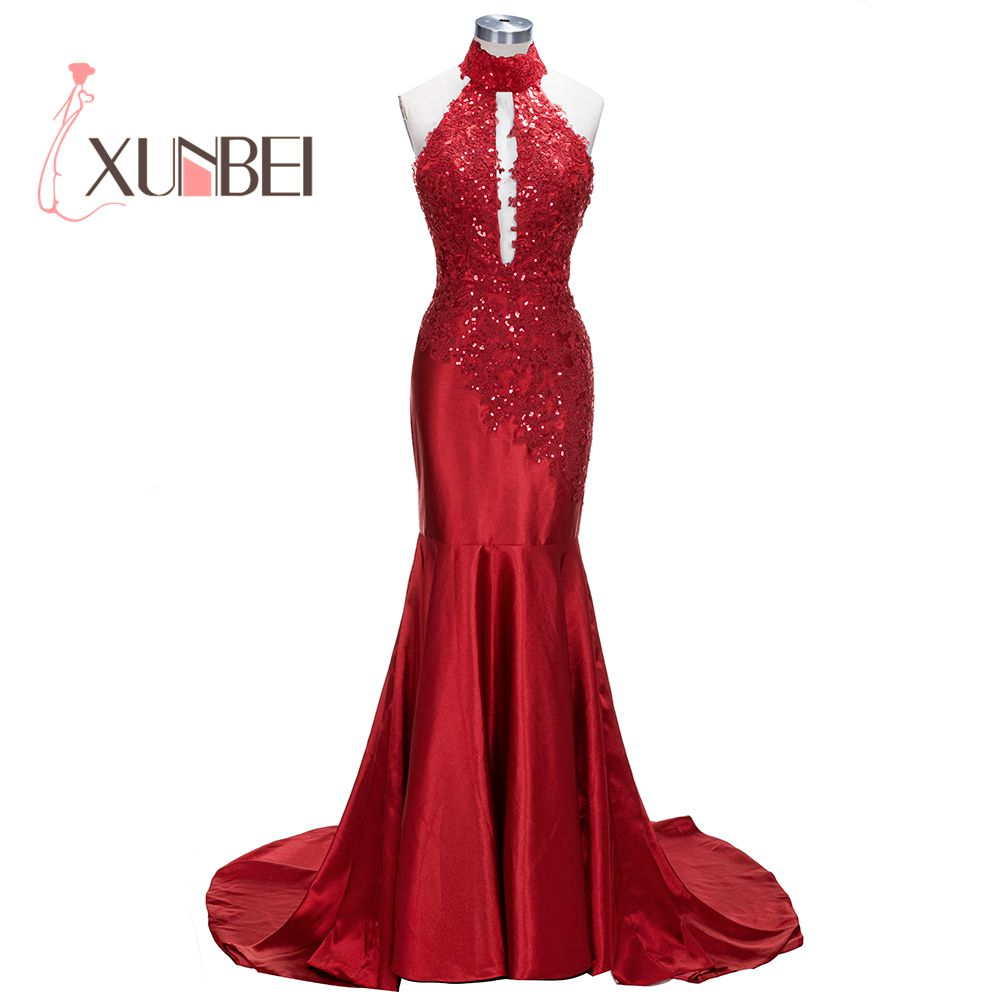 Vestido Longo Sequined Appliqued High Neck Red   Prom     Dresses   Long 2018 Sexy Backless Formal Evening   Dresses   Party Gown