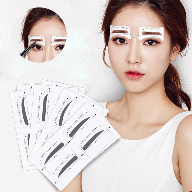 8pair Professional Eyebrow Stencils Template Stickers DIY Eyebrow Drawing Card Eyes Brow Stencil Set Women Beauty Makeup Tools 3