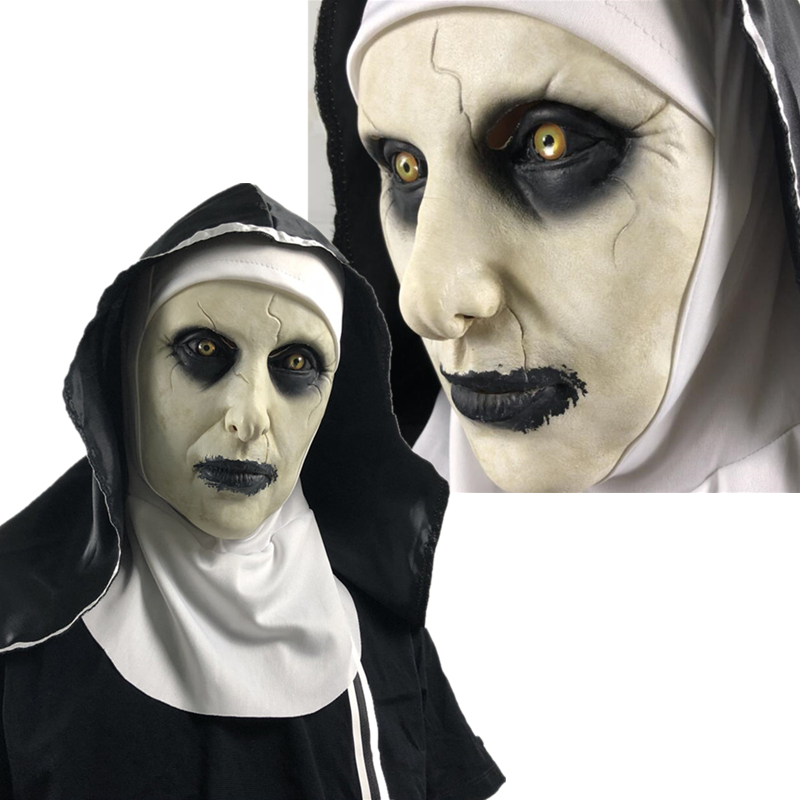 The Nun Cosplay Costume Full Mask Prop Valak Halloween Scary Horror Latex Masks The Conjuring