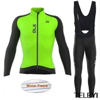 ALE 2017 Winter Thermal Fleece Clothes Cycling Jersey Bib Pants MTB Bicycle Wear Set Ropa Maillot