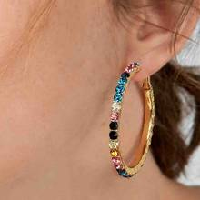 2019 New Boho Crystal Round Hoop Earrings for Women Big Circle Rhinestone Party Gold HUGGIE Earrings Charm Wedding Jewelry(China)