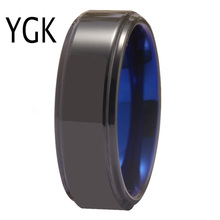 YGK Jewelry New Fashion Tungsten Carbide Ring Womens Wedding Engagement Anniversary Party Black Blue for Men
