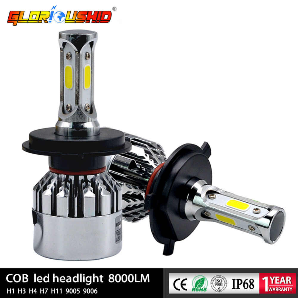 2Pcs LED H4 H7 H1 H3 H8 H27 HB4 HB3 H11 H13 9005 9006 881 Car LED Headlight 72W 8000LM Auto light Fog Lamp Bulb 6500k White