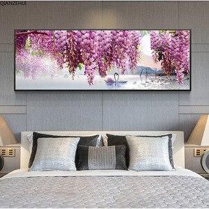 Image 2 - QIANZEHUI,DIY 5D Purple swan flower Diamond Embroidery,Round Diamond Full rhinestone Diamond painting cross stitch,needlework