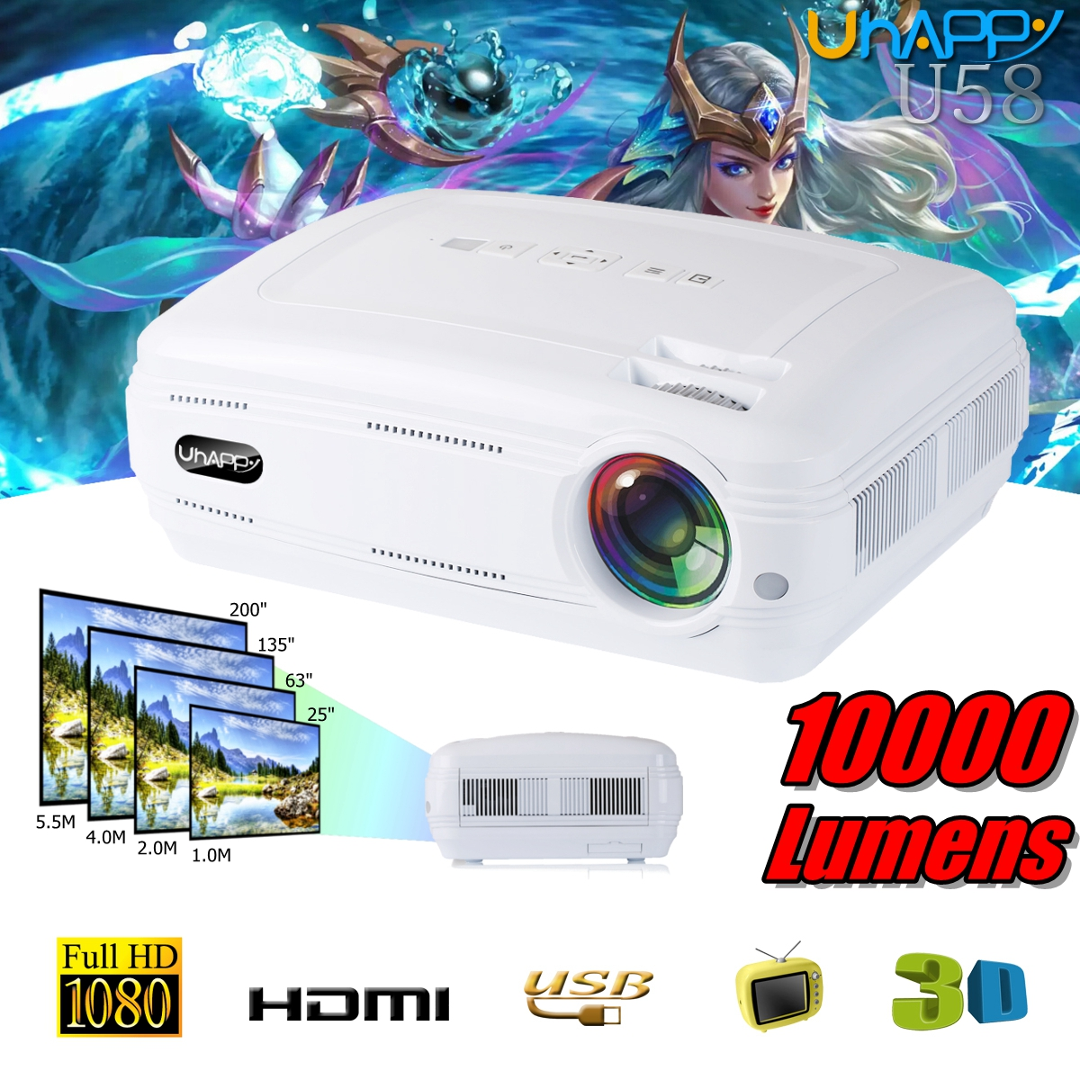 10000 Lumens 1080 p 3D LED Home Cinéma Théâtre Projecteur TV/AV/VGA/HD Multimédia Beamer