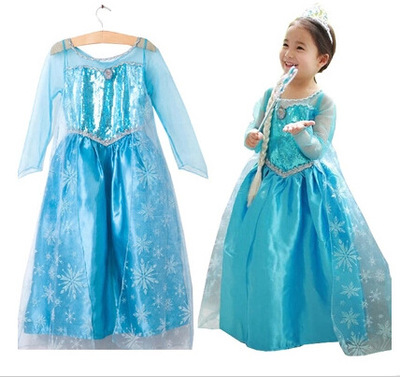 FORZEN Baby Girls Carnival Christmas Party Lace Sleeve Tutu Dress Elsa Anna Princess Snow Queen Clothes For Kids Girls Costume