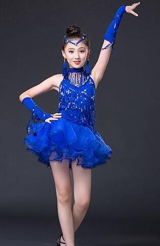 2017 New Free shipping Style Latin Dance Costume Fringe Dress For Girls Kids Latin Dance Competition Dresses