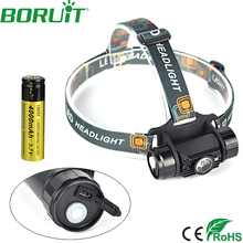 Boruit 350LM 3W Mini Headlight with IR Sensor USB Rechargeable Lantern Headlamp Flashlight Hunting Head Torch by 18650 Battery