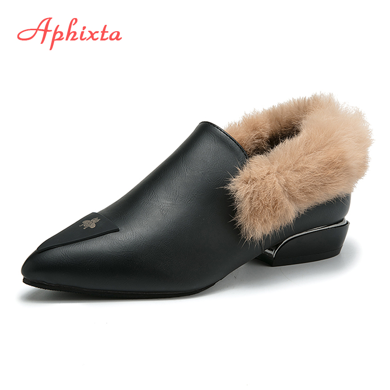 Aphixta Natural Fur Flats Shoes Woman Warm Soft Winter Boot Pointed Toe Shoe Chaussures Femme Ladies Casual Flats Buckle Slip On vesonal brand faux fur women shoes flats 2017 winter warm velvet female fashion ladies woman sneakers casual footwear tsj 189