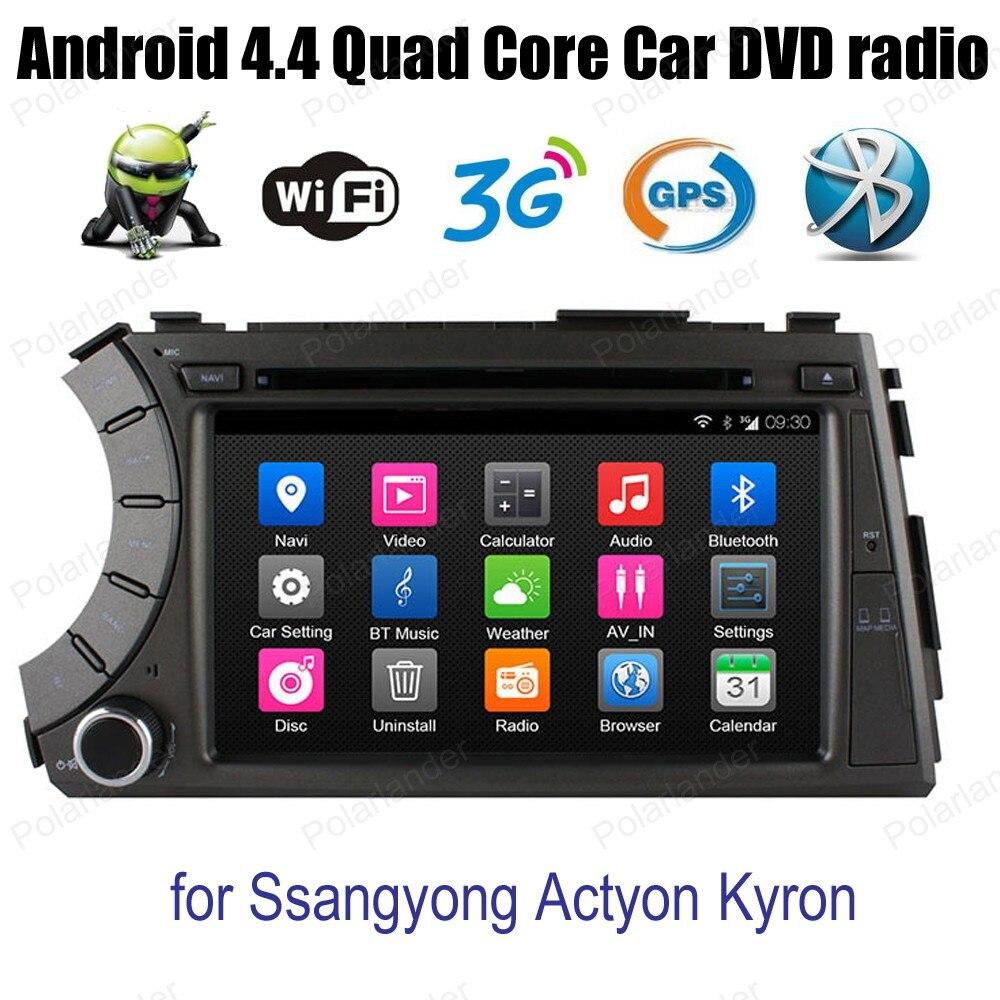 Android4.4 quatre cœurs écran tactile voiture DVD soutien DVR TPMS GPS Navi DAB + OBDII BT 3G WiFi radio pour Ssangyong Actyon Kyron
