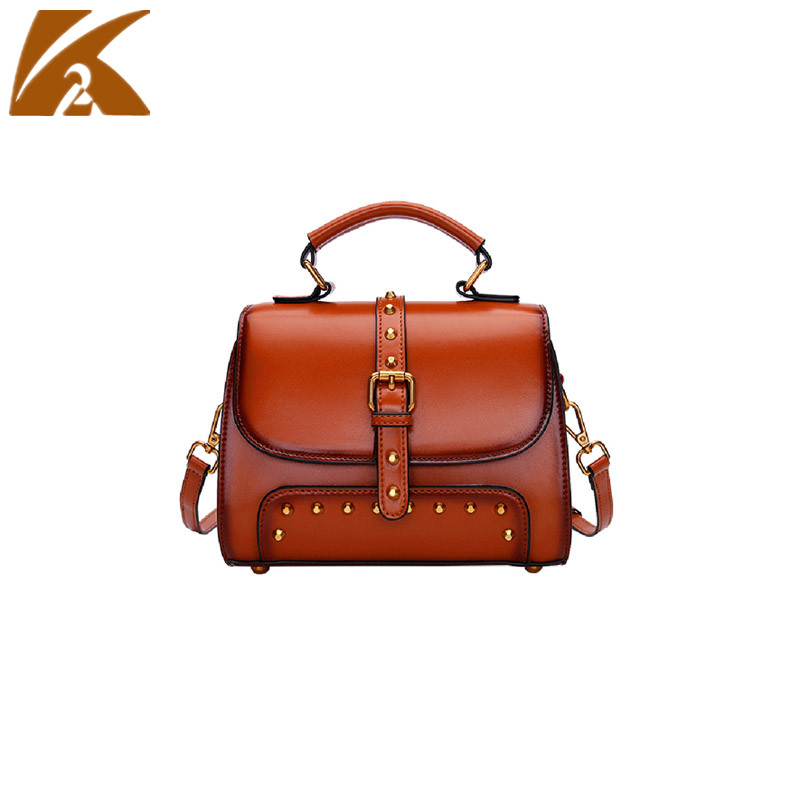 2018 Famous Brands Designers Rivet Crossbody Bags Handbags Women Vintage Real Genuine Cow Leather Shoulder Bag Messenger Bags free shipping 2017 new designers women leather bags handicraft rivet jacket punk style messenger bags shoulder crossbody bag go
