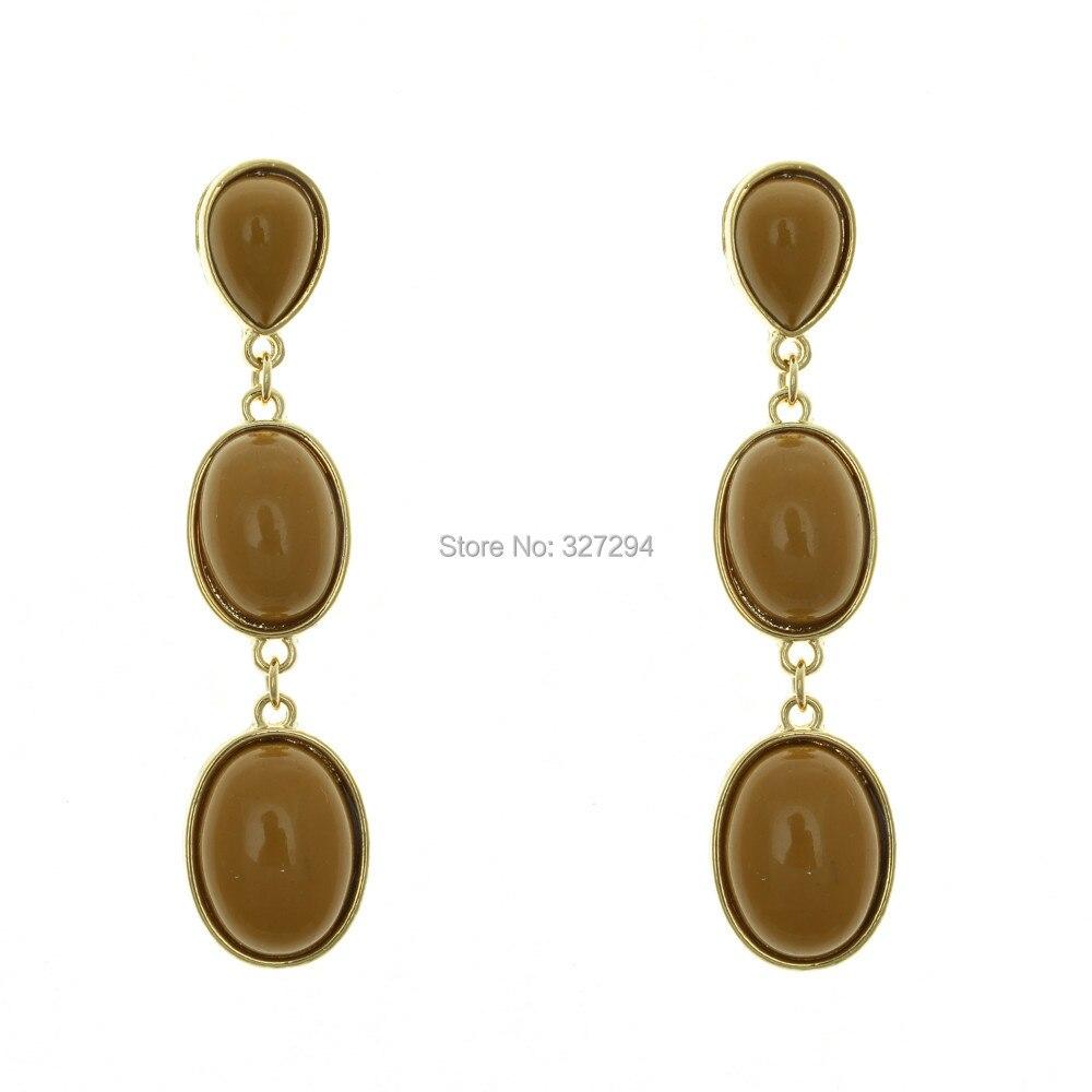 Модные женские туфли классические светло-золотой Цвет 3 коричневый Смола камень комплект из металла Висячие серьги