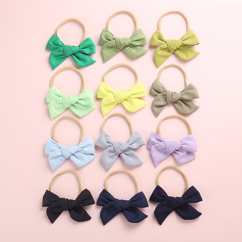 20 Colors Hand Tied Cotton Linen Hair Bow Nylon Headband, School Girl Bow Headbands Hair Accessory