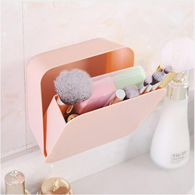 Plastic Makeup Organizer Make Up Brush Storage box Storage case No Nail Waterproof Holder Organizer On Wall drop shippin