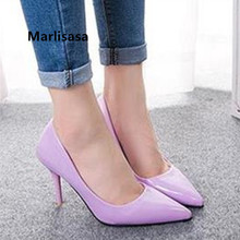 Women Fashion Purple High Quality Pu Leather Office High Heel Shoes