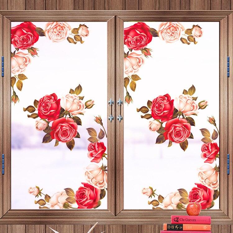 Home glass door and window art decoration frosted glass film plant flower peony window sticker glass door film