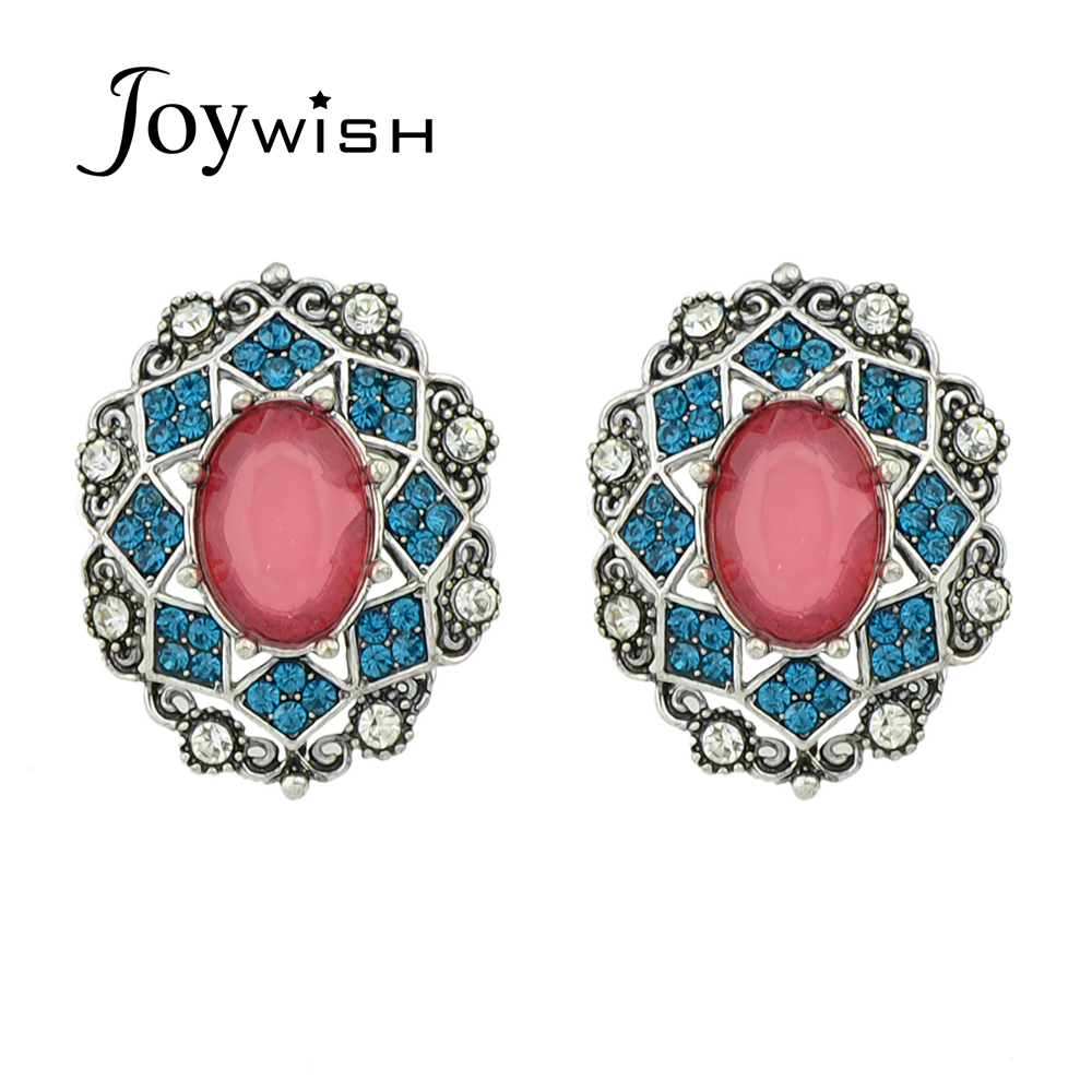 Indian Fashion Jewelry Green Color Imitation Rhinestone Stud Earrings For  Women Earring Jewelry Newing 2016