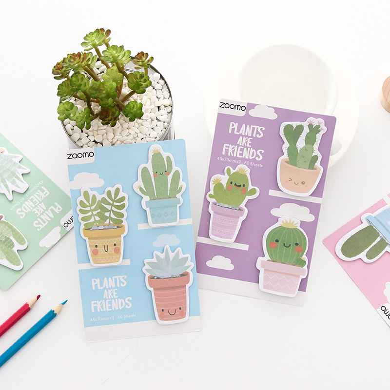 Smile Cactus Friends Memo Pad Sticky Notes Escolar Papelaria School Supply Bookmark Label 2018 pet transparent sticky notes and memo pad self adhesiv memo pad colored post sticker papelaria office school supplies