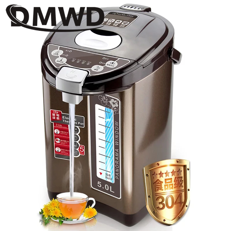 DMWD Thermal Insulation Electric Kettle Stainless steel Teapot 5L Constant Temperature Heating Hot Water Boiler Heater Bottle EU household stainless steel electrical stainless steel electric water heating pot insulation electric kettle cup boiler 850w 5l eu