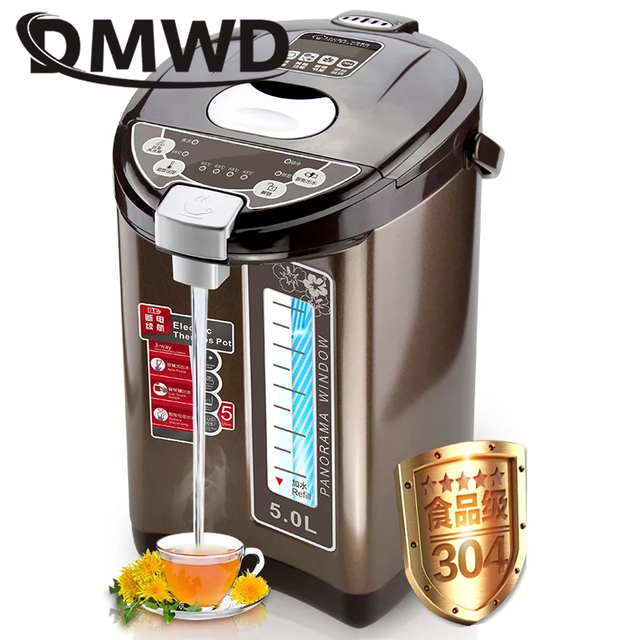 DMWD Thermal Insulation Electric Kettle Stainless steel Teapot 5L ...