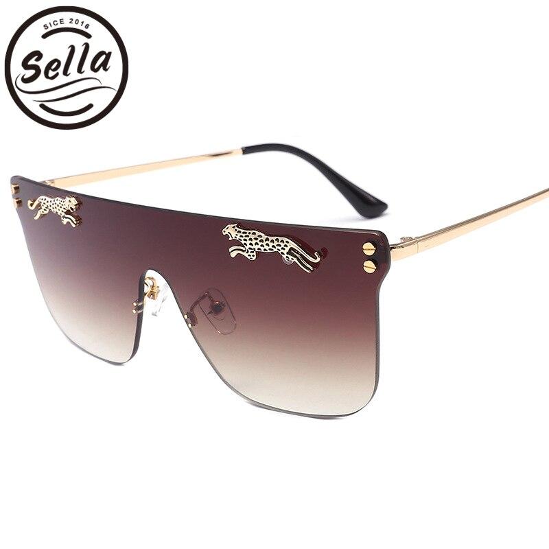 Sella nueva llegada de la moda de gran tamaño hombres leopardo decoración cuadrado Rimless gafas de sol Vintage mujer gradiente lente gafas