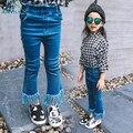 Primavera sólido borla flare pantalones bebé pantalones vaqueros de arranque de la moda Pantalones Niños Pantalones de Mezclilla de corte Nuevo Retro Casual Muchachas Del Niño pantalones