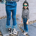 Spring Solid Tassel Flare Pants Baby Girl Jeans Fashion Boot Cut Trousers Kids Denim Pants New Casual Retro Toddler Girls Pants