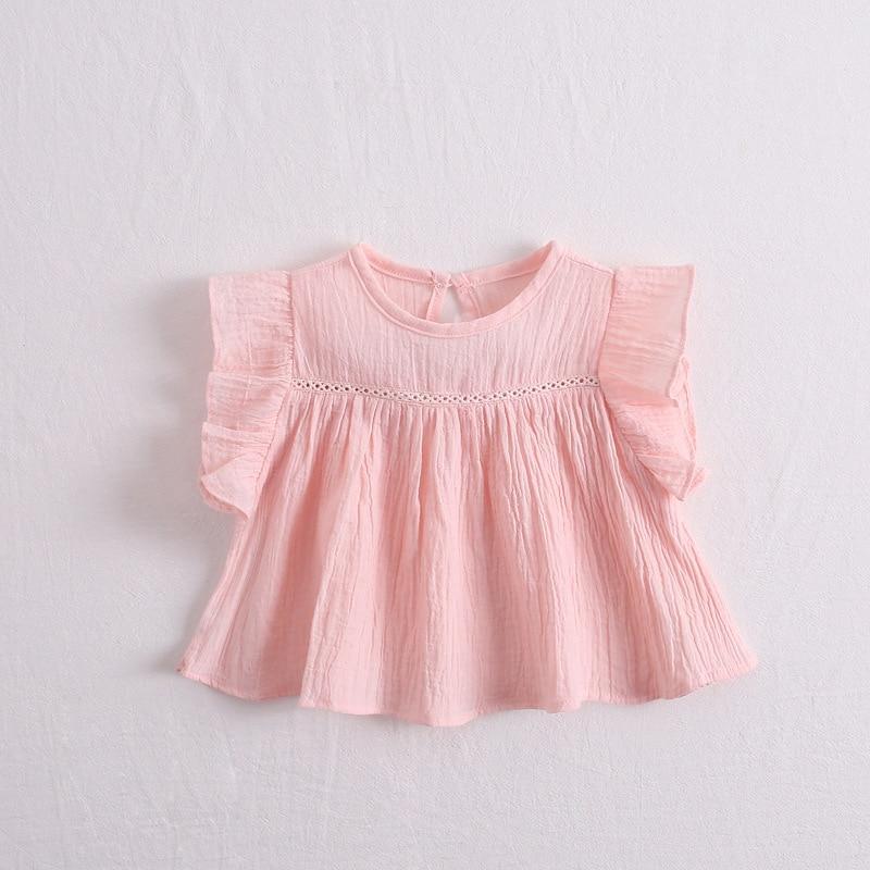 Блузка для маленьких девочек Детские рубашки из чистого хлопка свободное летняя одежда для маленьких принцесс детские топы, развевающиеся рукава для девочек, модная рубашка - Цвет: Розовый
