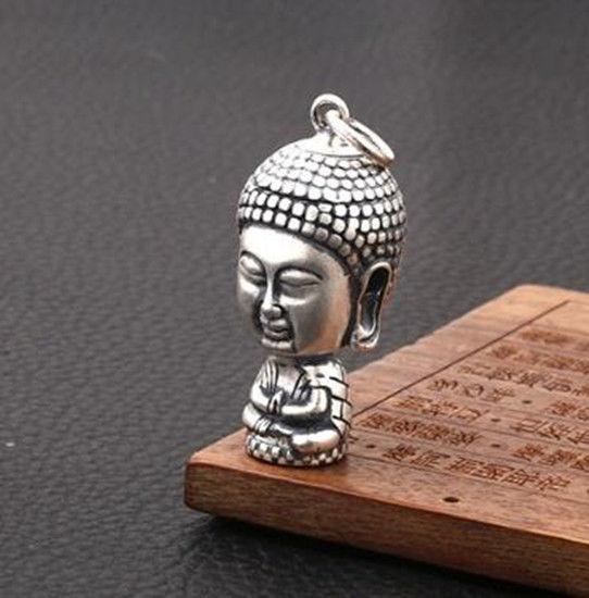 Exquisite Tibetan Silver Carving Sakyamuni Buddha Small Pendant