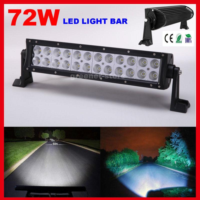 72W 12 Inch LED Working Light Bar Spot Beam OffRoad Lamp Headlight IP67 12V/ 24V