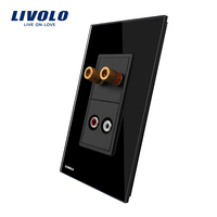 US AU Standard Livolo Luxury Audio And Sound Acoustics Socket With Black Pearl Crystal Glass VL
