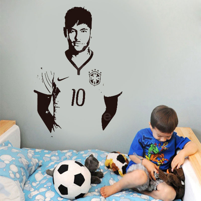 Football player Neymar Jr wall sticker home decoration vinyl wall stickers youth room dormitory decoration decal 3YD37-in Wall Stickers from Home & Garden