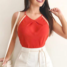 blusas mujer de moda 2019 women's blouse shirt Women Fashion Sleeveless V Neck Casual Style Sling Women Blouse Tops Tee Vest(China)
